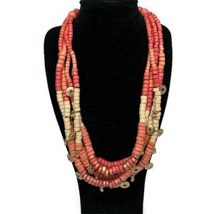 Chico's Coral Ombré Wood Bead Gold Charm Necklace
